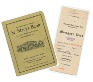 St. Mary's Bank historic documents - a passbook and a mortgage deed